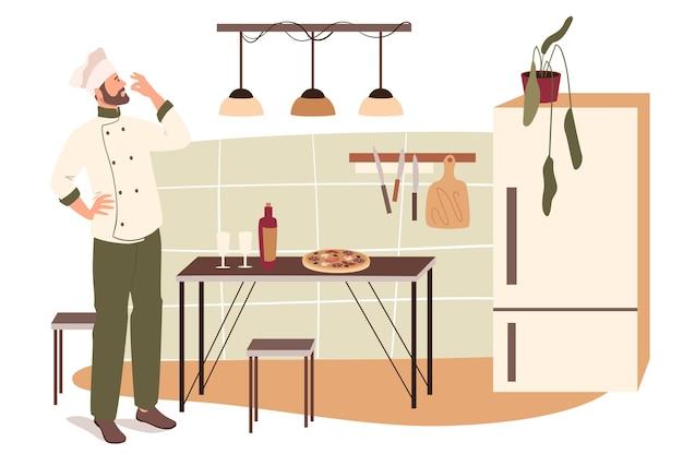 Lo chef ha preparato la pizza nel concetto di web della cucina di casa. uomo in uniforme che cucina pizza, apparecchia la tavola, serve vino, cena in sala da pranzo