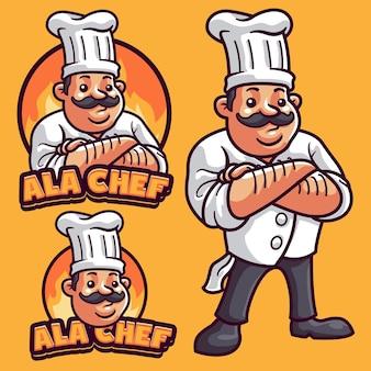 Modello di logo della mascotte del cuoco unico
