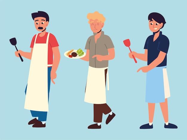 Chef uomini con grembiule