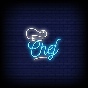 Testo di stile di insegne al neon del cuoco unico