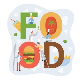 Chef persone con cibo lettering illustrazione. personaggi del personale di cucina minuscola del fumetto in grembiule in piedi con lettere, che serve hamburger o patatine fritte di fastfood, servizio di catering su bianco
