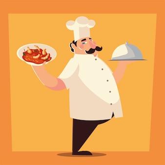 Cuoco unico che prepara l'illustrazione di vettore del ristorante di servizio del piatto della minestra del cibo