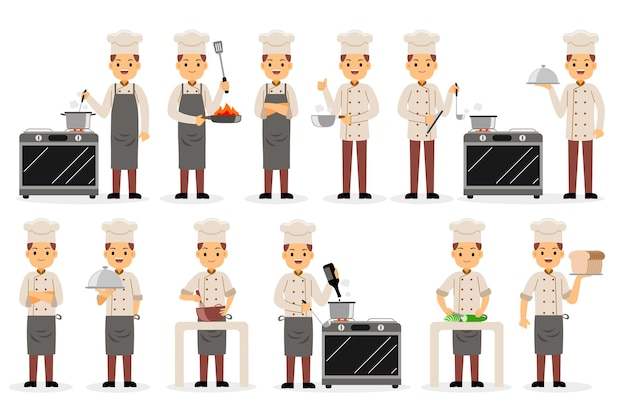 Set di caratteri di professione di chef