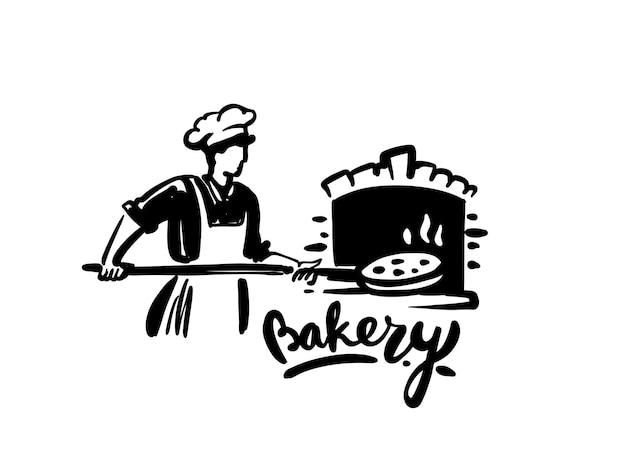 Lo chef mette la pizza e cucina nel forno a pietra