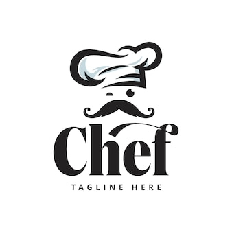Modello delle illustrazioni di riserva di logo del ristorante del cuoco unico