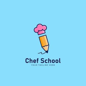 Icona del logo della scuola dello chef con matita e cappello da chef, concetto dell'icona del logo del blogger di ricette