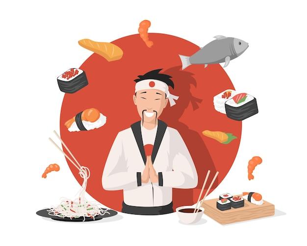 Chef in tradizionale kimono giapponese illustrazione vettoriale piatto cucina giapponese