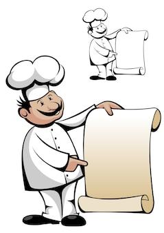 Chef in uniforme con menu