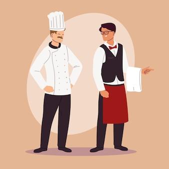 Chef e cameriere nel disegno di illustrazione uniforme di lavoro