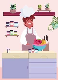 Chef con ciotola di frutta in cucina. stile cartone animato
