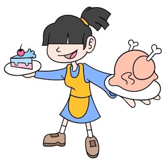 Una donna chef che mostra il suo pollo fritto e le torte che cucina, scarabocchi disegna kawaii. arte dell'illustrazione