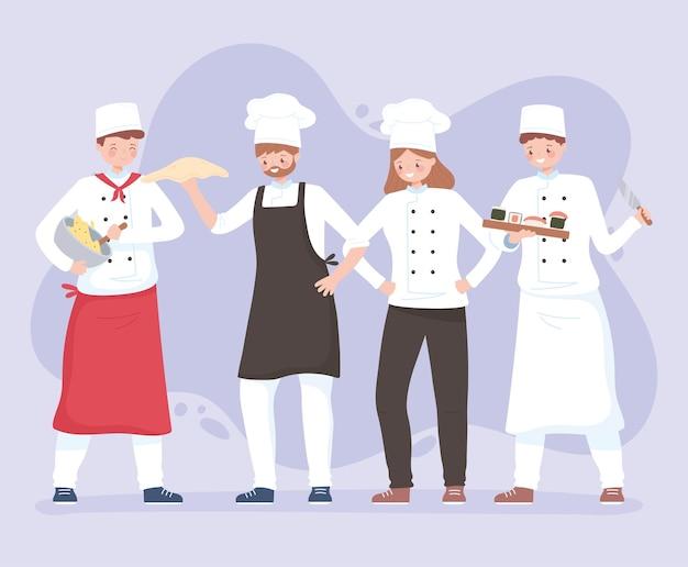 Chef personaggi uomini e donne lavoratrici in grembiule e cappelli