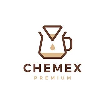 Illustrazione dell'icona di vettore del logo del filtro di carta del gocciolatore del caffè chemex