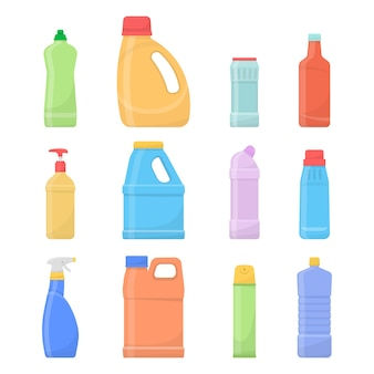 Bottiglie pulite chimiche. prodotti per la pulizia