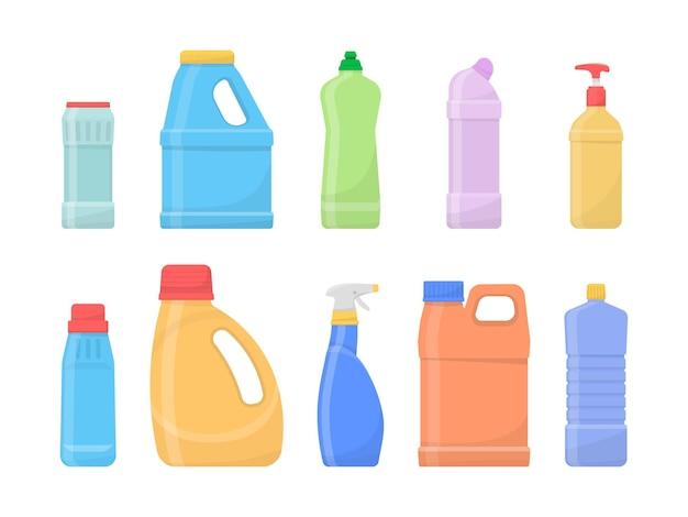 Bottiglie pulite chimiche isolate su bianco