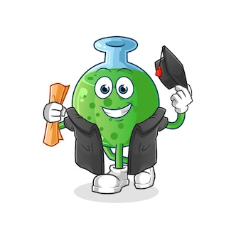 La mascotte del personaggio di laurea in vetro chimico
