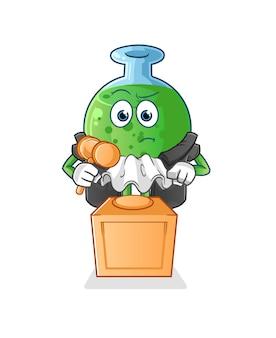 Il giudice del vetro chimico tiene in mano la mascotte gavelcharacter