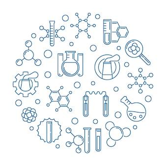 Illustrazione rotonda blu del profilo di industria chimica