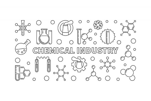 Linea bandiera di concetto di industria chimica - illustrazione