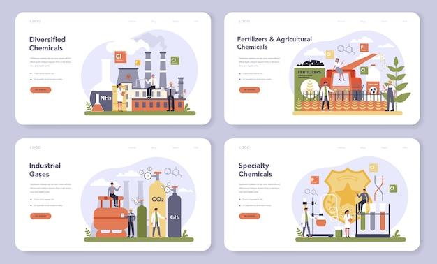 Set di banner web o pagina di destinazione per l'industria chimica. chimica industriale e produzione chimica. petrolio, gas e fertilizzanti.