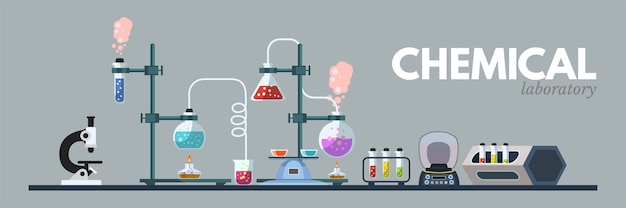 Illustrazione di attrezzature di laboratorio chimico, strumenti scientifici, microscopio, boccette con clipart liquido tossico su sfondo grigio. banner di laboratorio medico e di chimica del fumetto