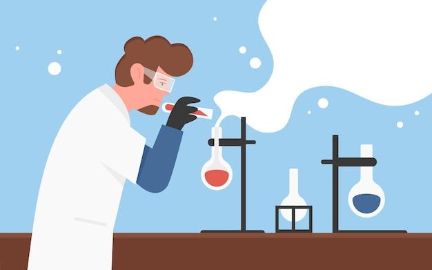 Concetto di ricerca scientifica di esperimento di laboratorio chimico con scienziato dell'uomo del chimico che
