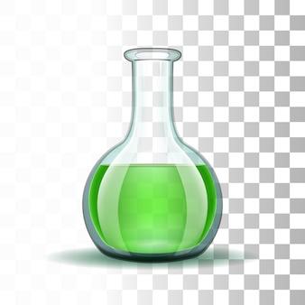 Boccetta trasparente per laboratorio chimico con liquido verde