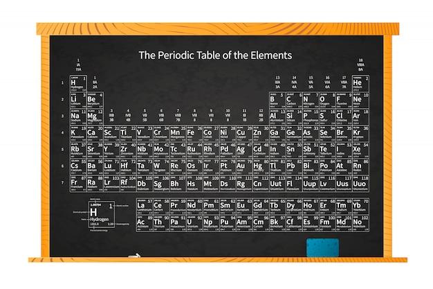 Tavola periodica chimica degli elementi sulla lavagna della scuola nel telaio di legno