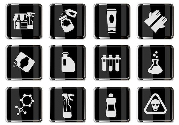 Pittogrammi del negozio di prodotti chimici in pulsanti cromati neri. set di icone vettoriali per il design dell'interfaccia utente