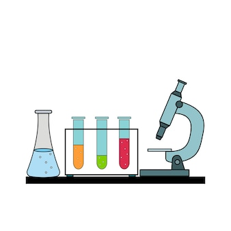 Stoviglie chimiche con un microscopio, illustrazione vettoriale isolata a colori.
