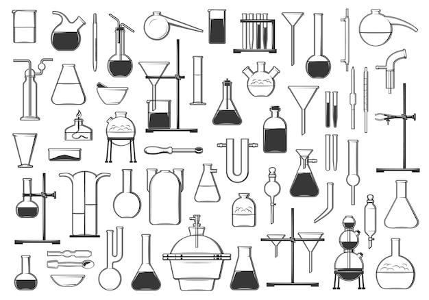 Provette chimiche, boccette, storta e strumenti. set di icone vettoriali per chimica, biologia o farmacia e vetreria. bruciatore ad alcool, imbuto e separatori, condensatore, pinze e pipette