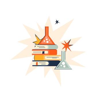 Provette chimiche con libri in stile trendy