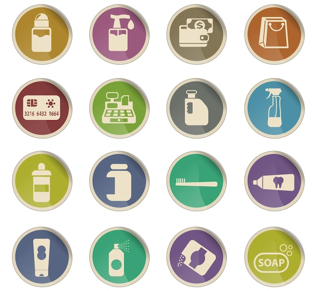 I prodotti chimici immagazzinano icone vettoriali sotto forma di etichette di carta rotonde