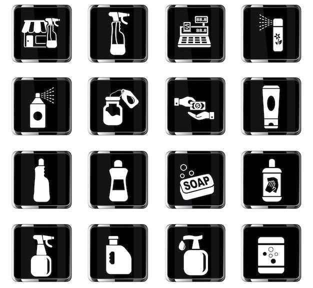 Icone web del negozio di prodotti chimici per la progettazione dell'interfaccia utente