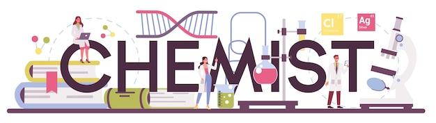 Illustrazione dell'intestazione tipografica del chimico in stile piano