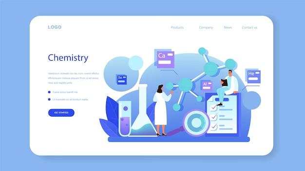 Banner web chimico o pagina di destinazione. scienziato di chimica che fa un esperimento in laboratorio. attrezzature scientifiche, ricerca chimica. illustrazione vettoriale piatto isolato
