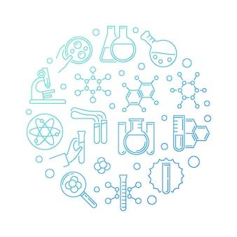 Illustrazione rotonda lineare dell'icona di concetto moderno blu di chimica