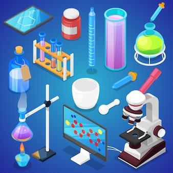 Scienza chimica di chimica o ricerca della farmacia in laboratorio per tecnologia o esperimento nell'insieme dell'illustrazione del laboratorio dell'attrezzatura scientifica del laboratorio isolata su fondo