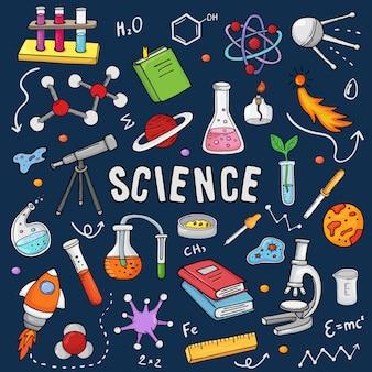 Scienza chimica di chimica o ricerca della farmacia nel laboratorio della scuola per tecnologia o esperimento nell'insieme dell'illustrazione del laboratorio del microscopio di istruzione scientifica del laboratorio isolato su fondo