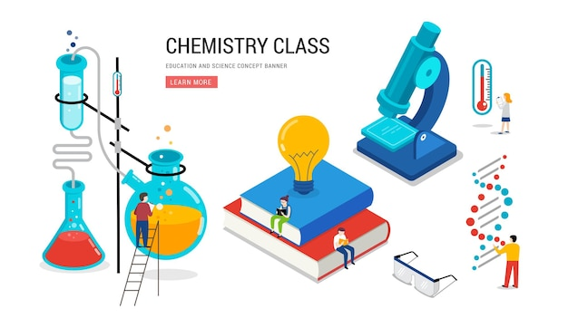 Laboratorio di chimica e banner di educazione scientifica in classe scolastica
