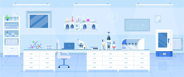 Colore piatto laboratorio di chimica. laboratorio di scienze, centro di ricerca farmaceutica dal design interno del fumetto 2d con attrezzature mediche sullo sfondo. arredamento moderno istituto medico