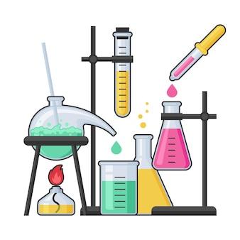 Laboratorio di chimica e attrezzature scientifiche con provetta di vetro e pallone. farmacia e chimica, educazione e concetto di scienza.