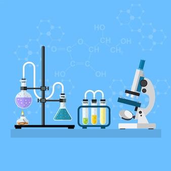 Area di lavoro del laboratorio di chimica e concetto di attrezzatura scientifica. lo sfondo chimico, banner, copertina. scienza, educazione, chimica, esperimento, concetto di laboratorio. illustrazione vettoriale in design piatto