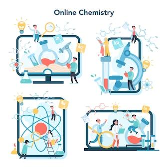 Insieme di concetti di studio online di chimica. corso online o piattaforma webinar per dispositivi diversi. esperimento scientifico in laboratorio con apparecchiature chimiche.