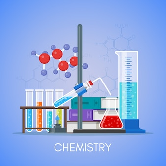 Manifesto di concetto di educazione scientifica chimica nella progettazione di stile piano.