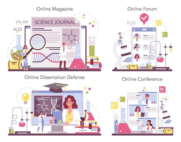 Servizio online di scienza chimica o set di piattaforme