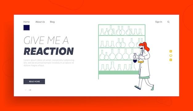 Modello di pagina di destinazione del personale della scienza chimica al lavoro.