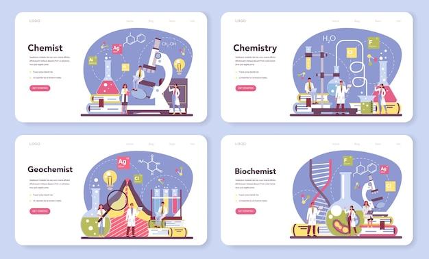 Banner web di scienza chimica o set di pagine di destinazione