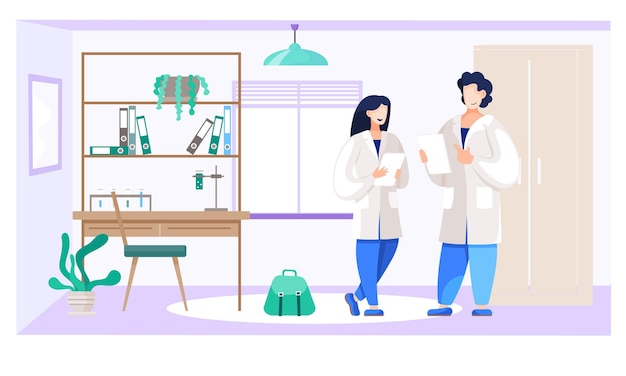 Gli studenti di chimica comunicano in laboratorio Vettore Premium