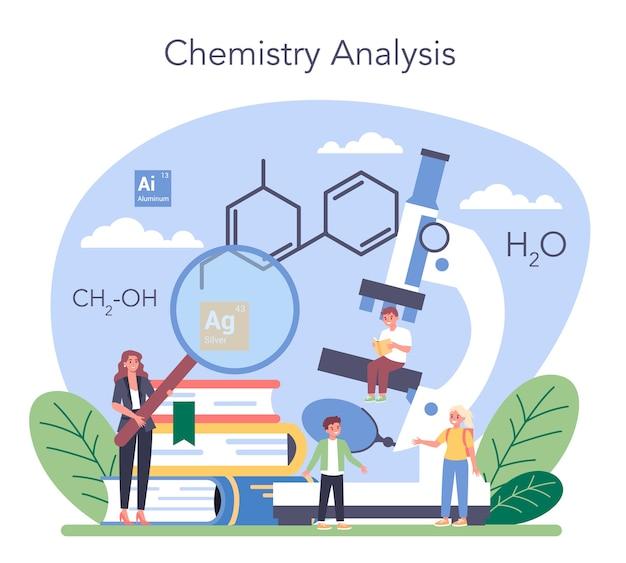 Illustrazione di concetto di studio di chimica in stile piano